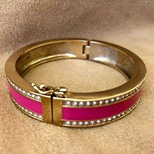 Vintage Ann Taylor Pink Enamel Rhinestone Bracelet